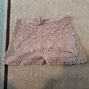 Wishlist Boho Beige Crochet Shorts